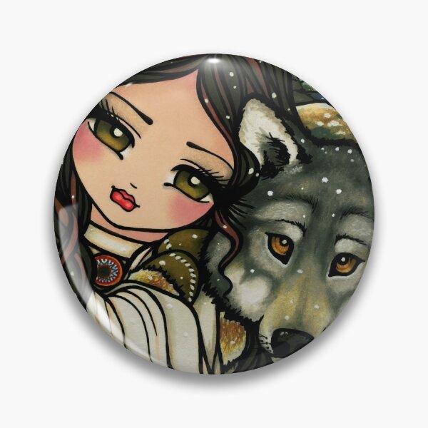 Wolf and Native Girl Winter Nature Scene Fantasy Art Pin
