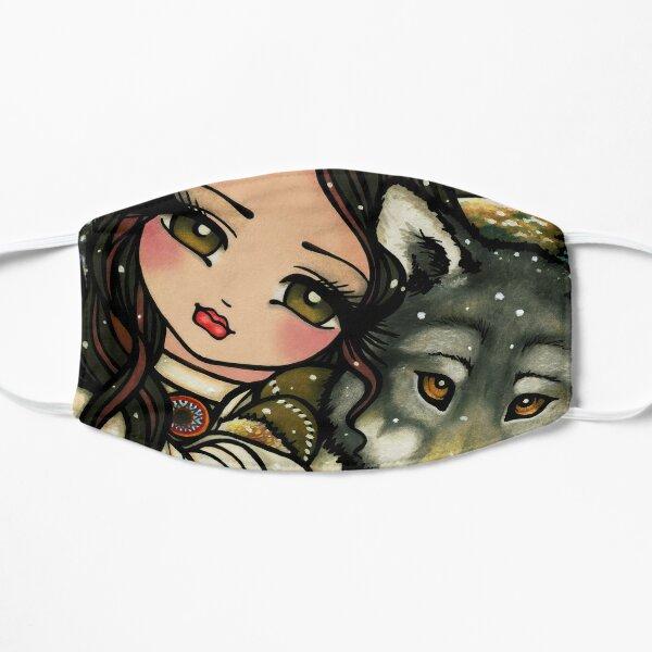 Wolf and Native Girl Winter Nature Scene Fantasy Art Flat Mask