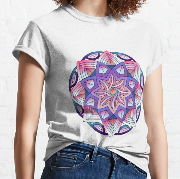 Patterned Mandala in Pink and Blue Classic T-Shirt