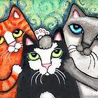 Siamese Tabby and Tuxedo Cats Posing Art Print by Jamie Wogan Edwards