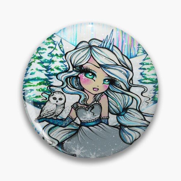 Princess of Winter, Frozen Icy Nature Scene Fantasy Art Pin