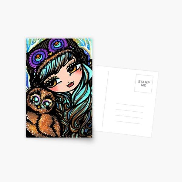 Cute Owl and Girl Whimsical Fantasy Art Postcard