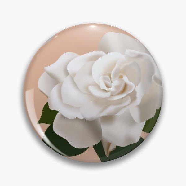 Lovely gardenia print - peach Pin