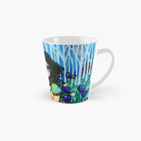 Black Haired Beauty and Animal Friends Whimsical Fantasy Art Tall Mug