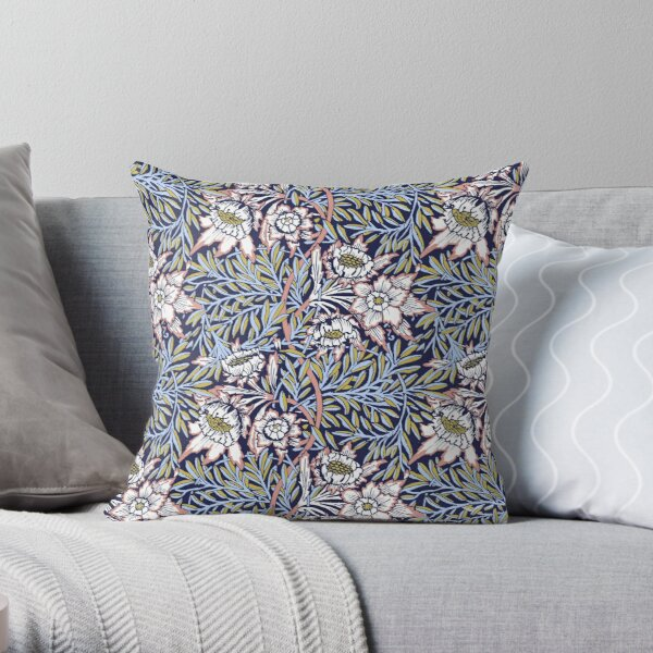 Tulip and Willow Arts and Crafts Pattern by William Morris, Remastered, Stunning Throw Pillow