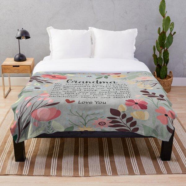 Grandma Blanket - Grey Grandma Blanket - cute Grandma blanket - floral grandma blanket Throw Blanket