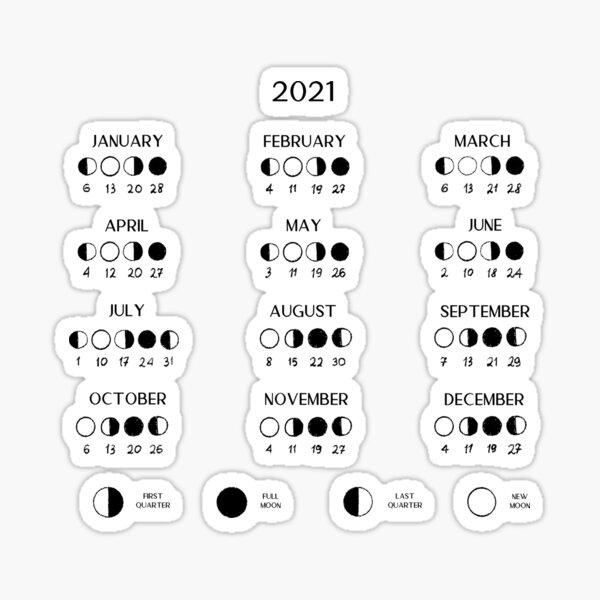 Moon calendar 2021 Sticker