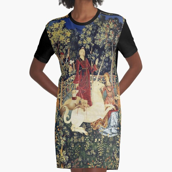 LADY AND MYSTIC CAPTURE OF UNICORN Orange Green Floral Crowns,Animals Graphic T-Shirt Dress