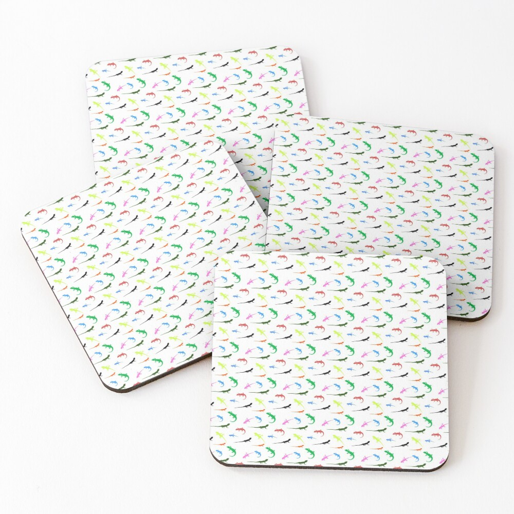 Repeating colorful lizards Coasters (Set of 4)