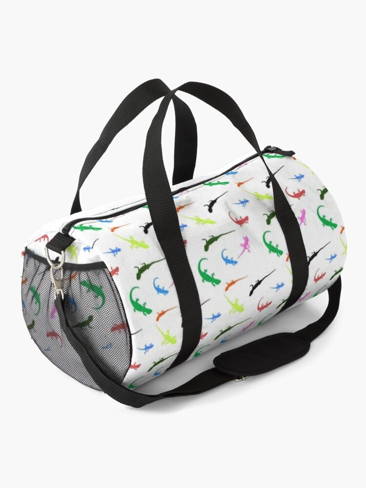 Alternate view of Repeating colorful lizards Duffle Bag