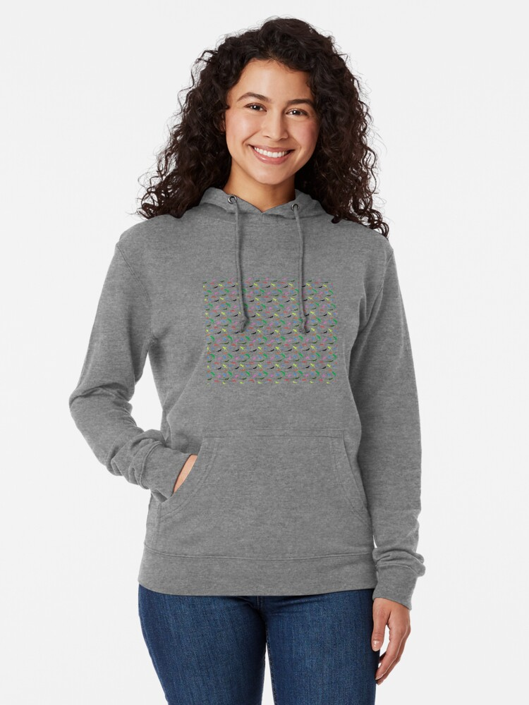 Alternate view of Repeating colorful lizards Lightweight Hoodie