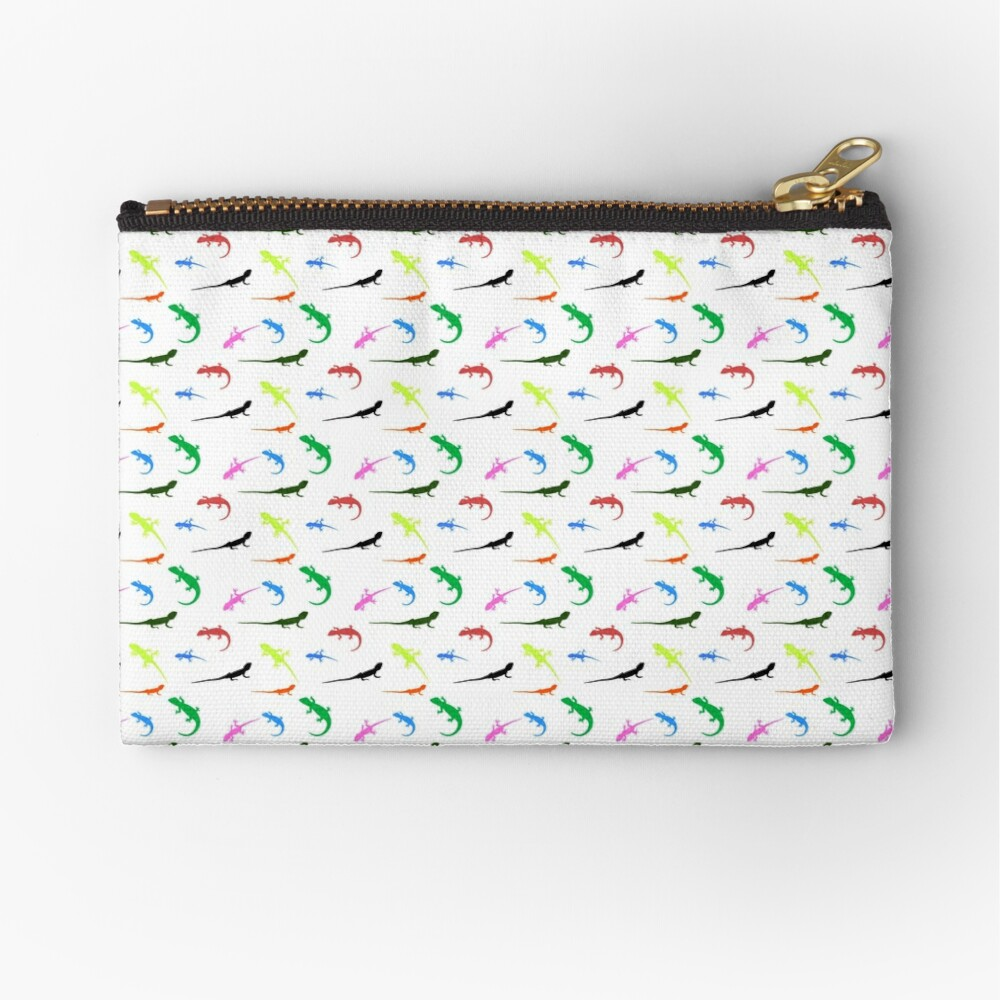 Repeating colorful lizards Zipper Pouch