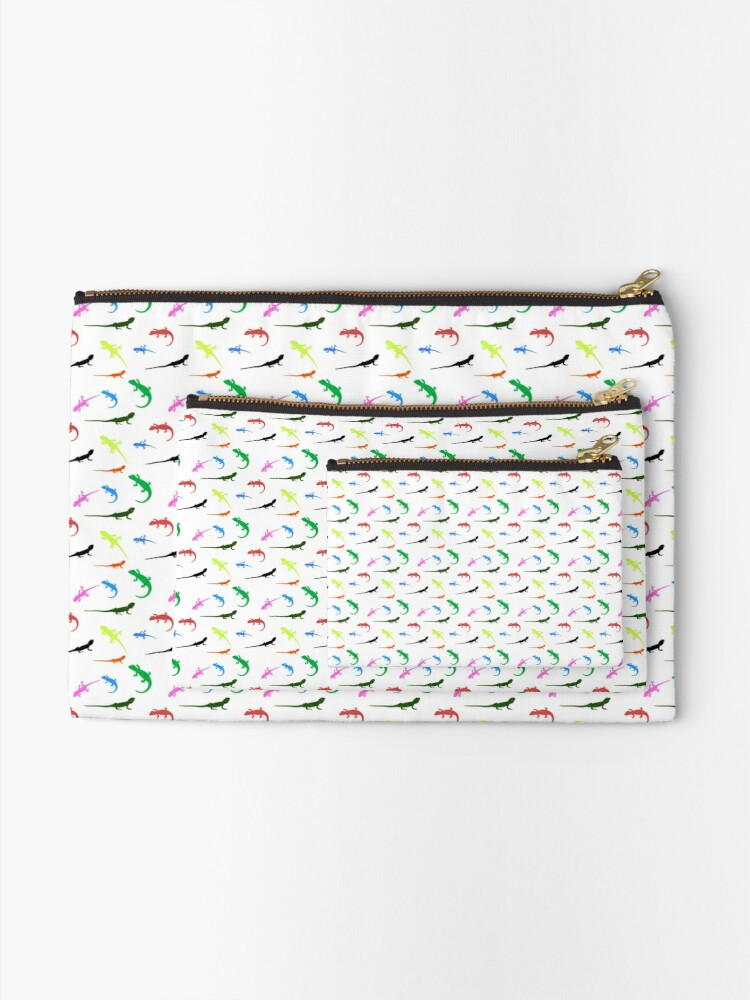 Alternate view of Repeating colorful lizards Zipper Pouch