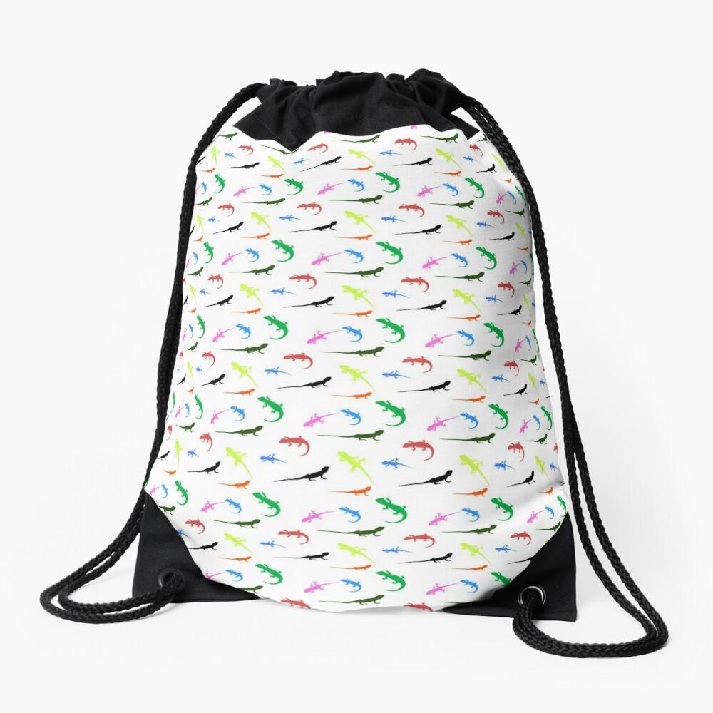 Repeating colorful lizards Drawstring Bag
