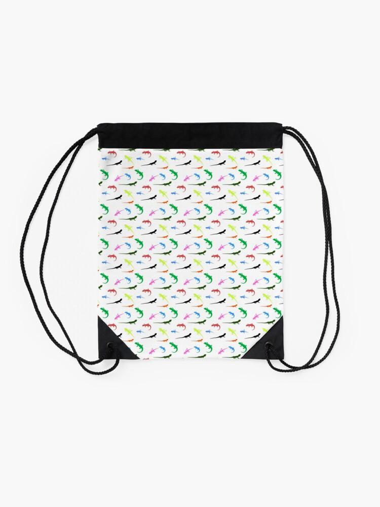 Alternate view of Repeating colorful lizards Drawstring Bag