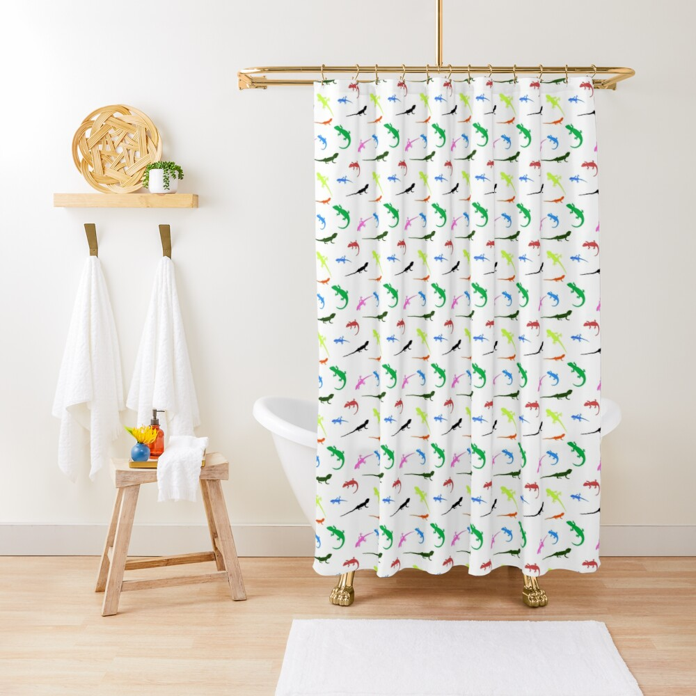 Repeating colorful lizards Shower Curtain