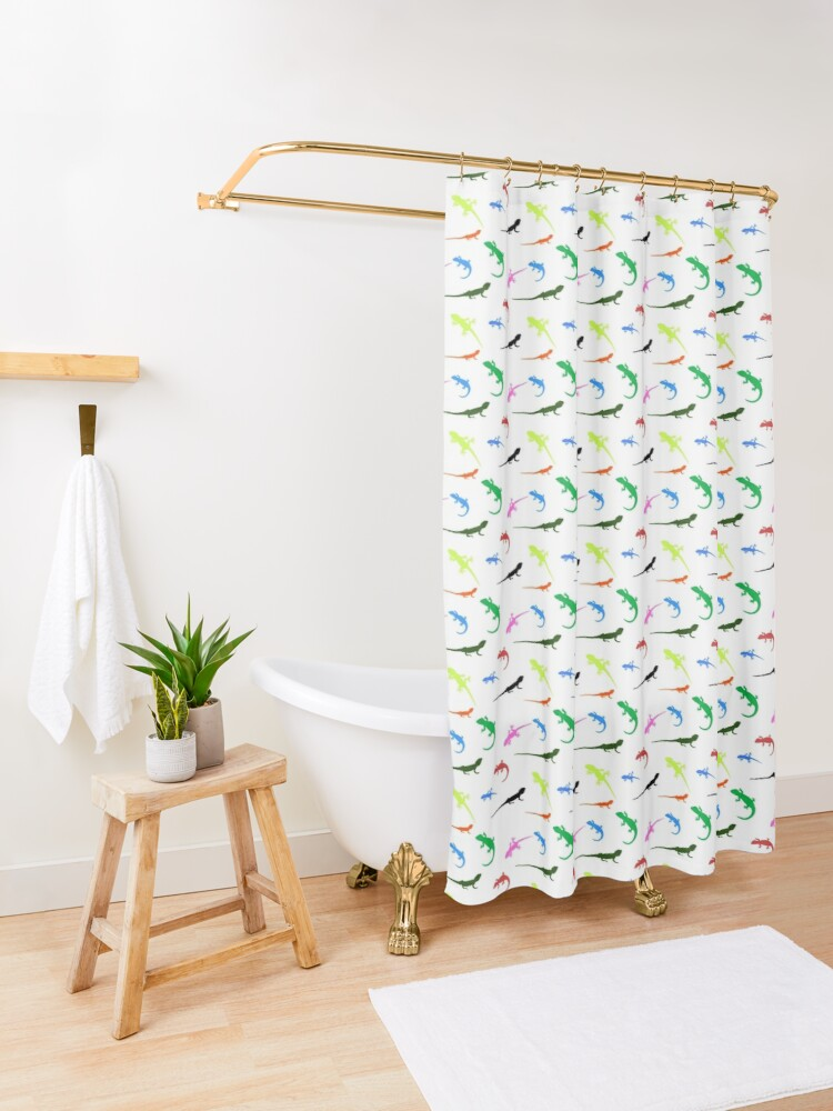 Alternate view of Repeating colorful lizards Shower Curtain