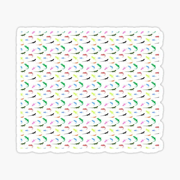 Repeating colorful lizards Sticker