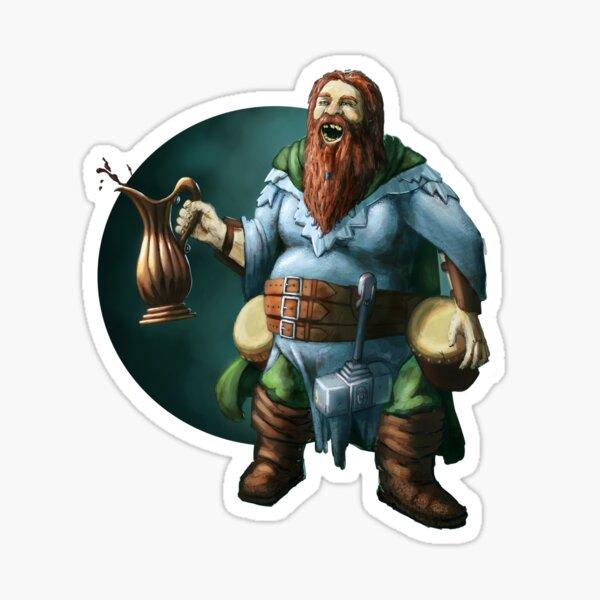 Dwarven Bard Fantasy Print Sticker