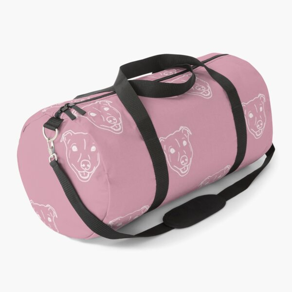 Smiling staffy tiled (Staffordshire bull terrier) pitbull bully breed dog on pink background Duffle Bag