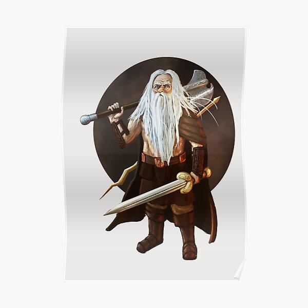 Gnome Barbarian Fantasy Portrait Print Poster