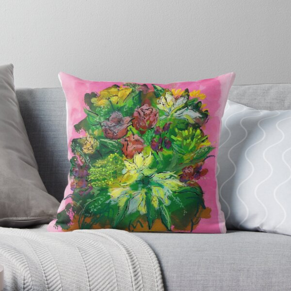Pink Roses and Freesia Throw Pillow
