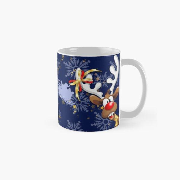 Merry Christmas Happy Santa and Reindeer Classic Mug