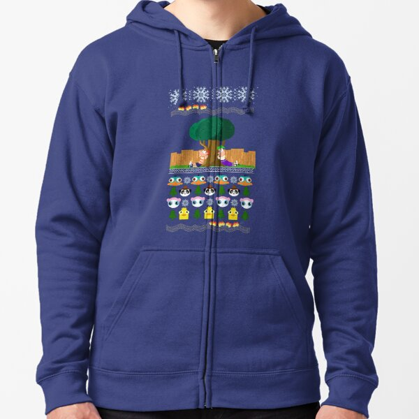 Phineas and Ferb Christmas! Zipped Hoodie