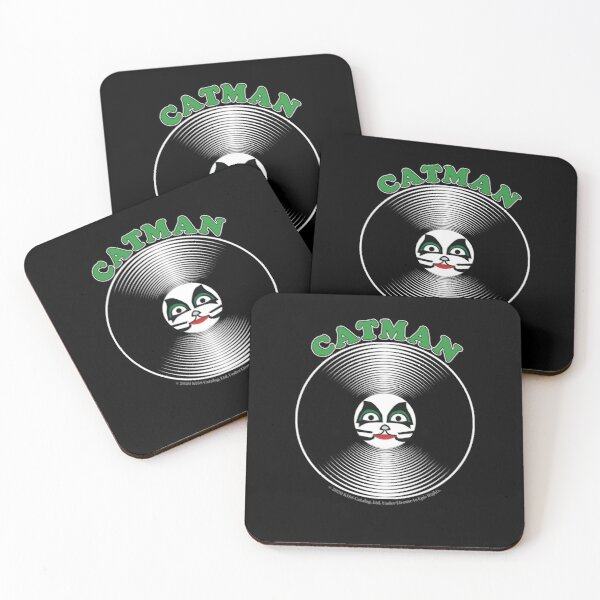 Green Catman Comic Artwork in Center of Vinyl Record - Kiss Coasters (Set of 4)
