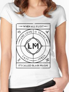 Black Magic Chant - Black on White Women's Fitted Scoop T-Shirt