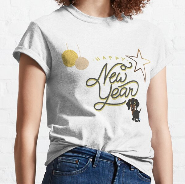 New Years Star & Golly Animated Dachie-dtt Classic T-Shirt