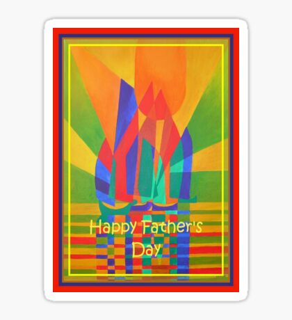 Happy Father's Day Dreamboat Cubist Junk In Primary Colors Sticker