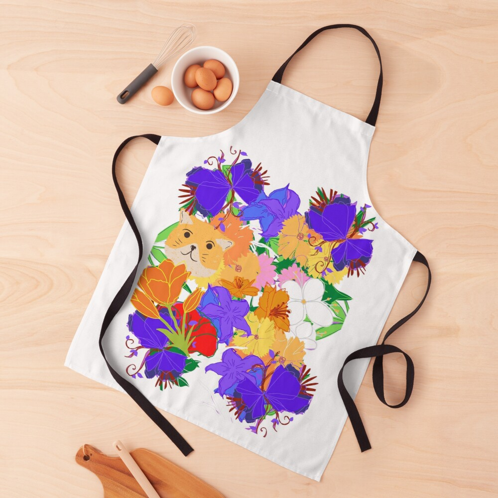 Tabby in the Flowerbed Apron