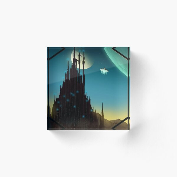 Sci-fi Cityscape Art Print Acrylic Block