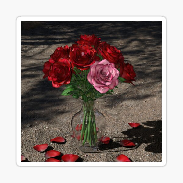 Roses In Glass Vase Sticker