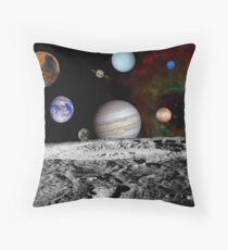 Montage of the planets and Jupiter's moons. Throw Pillow