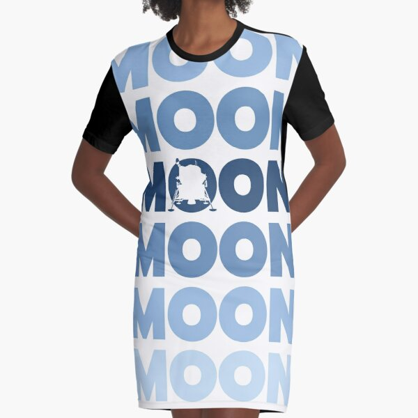 Moon lettering with lander (monochrome style) ▶ Graphic T-Shirt Dress