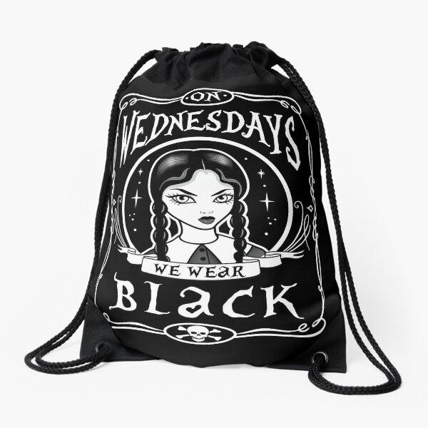 On Wednesdays We Wear Black Drawstring Bag