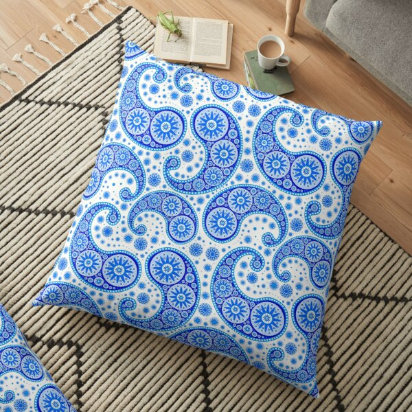 Blue Paisley Pillows & Cushions | Redbubble
