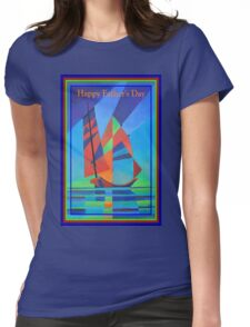 Happy Father's Day Cubist Abstract Junk Boat Against Deep Blue Sky T-Shirt