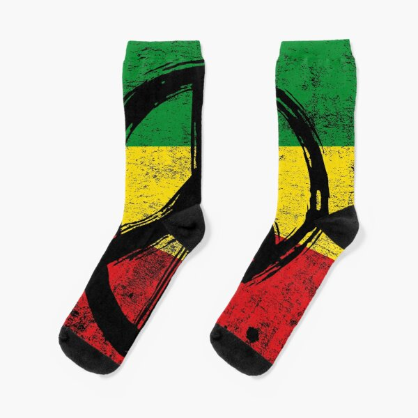 Rasta Flag with Peace Symbol, vintage texture version Socks