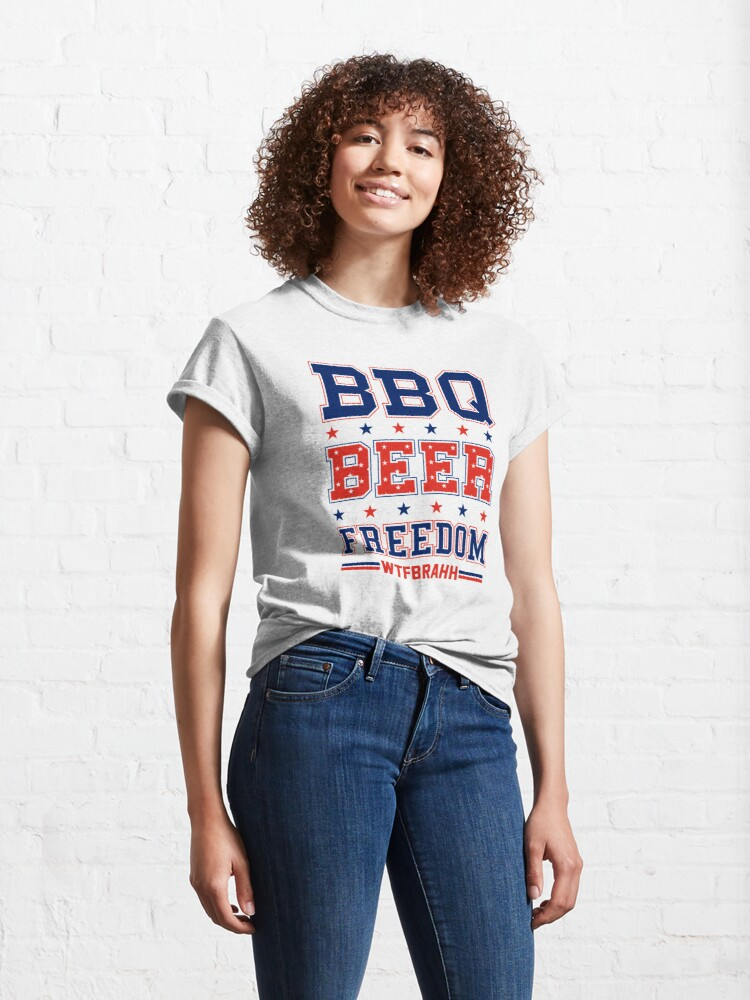 Alternate view of BBQ BEER FREEDOM Remix Biden Crime Family WTFBrahh Classic T-Shirt