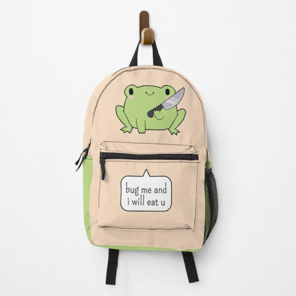 Cute Frog With A Knife Backpack