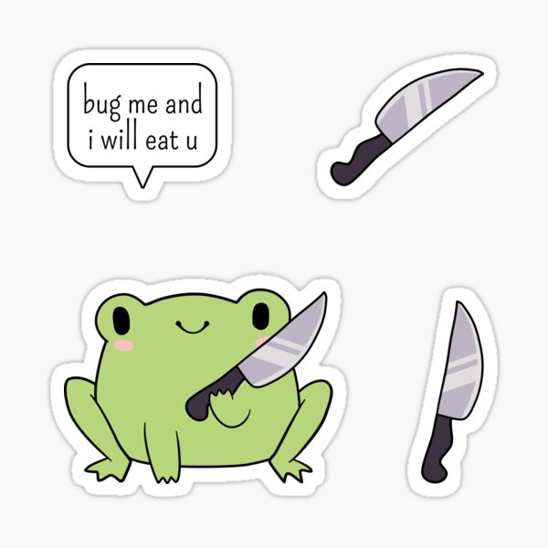 Cute Frog With A Knife Sticker