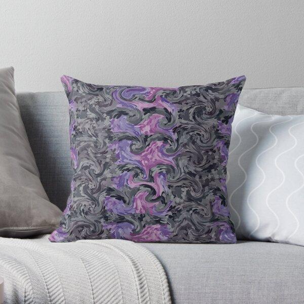 Flowered Purple Grey Swirl Abstract Art Pattern Design Throw Pillow