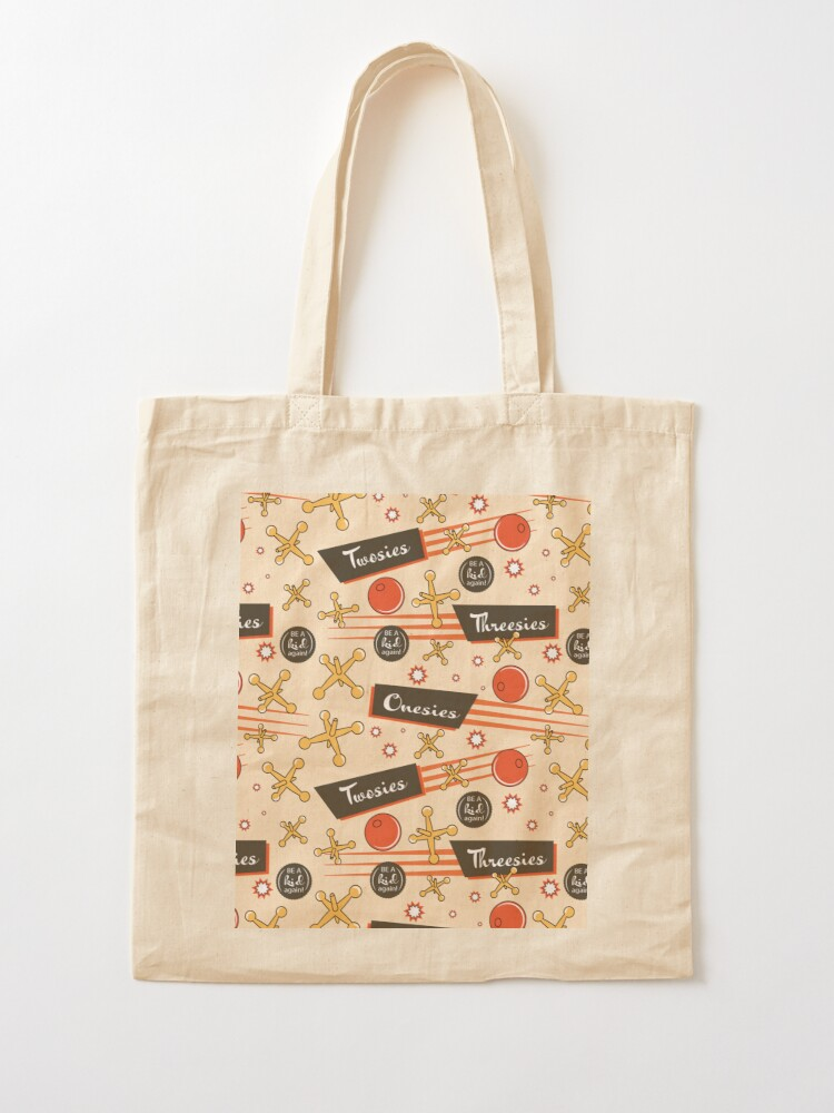 Alternate view of Let's play Jacks - Old Fashioned Fun - Be a Kid Again Tote Bag
