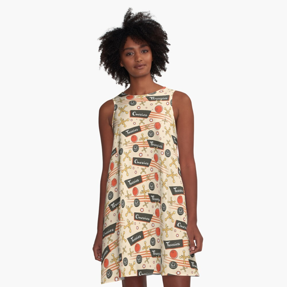 Let's play Jacks - Old Fashioned Fun - Be a Kid Again A-Line Dress