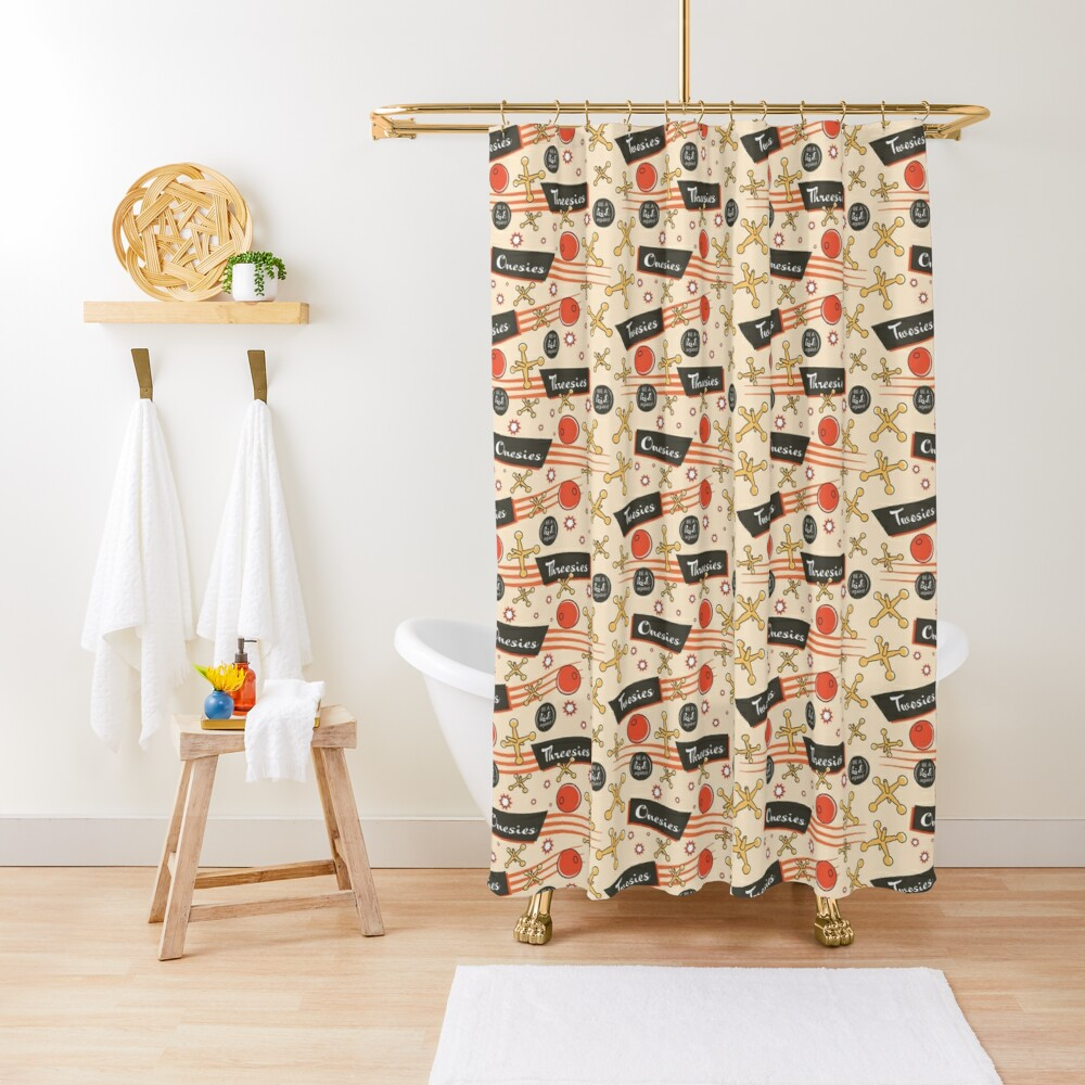 Let's play Jacks - Old Fashioned Fun - Be a Kid Again Shower Curtain