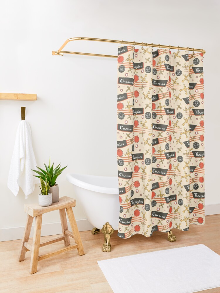 Alternate view of Let's play Jacks - Old Fashioned Fun - Be a Kid Again Shower Curtain