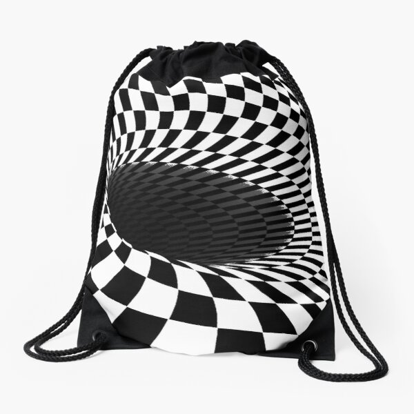 Illusion is a step away from reality and optical illusions are those that relate images we see to others that we visualize, perceive, or relate to Drawstring Bag